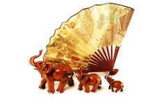 Three Elephants And A Fan Stock Images
