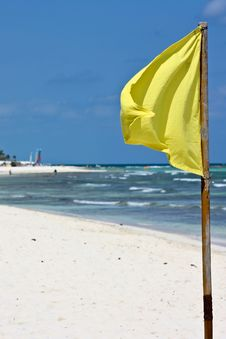 Free Yellow Flag On Beach Stock Images - 13877794
