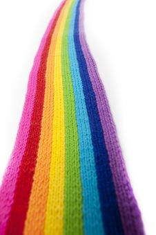 Free Bright Rainbow Knitted Scarf Stock Photo - 13879480