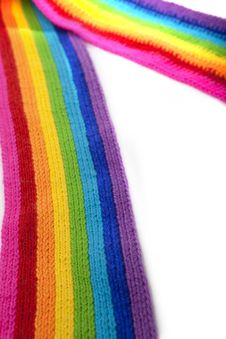 Free Bright Rainbow Knitted Scarf Royalty Free Stock Photography - 13879517