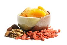 Free Dried Apricots In A Bowl Royalty Free Stock Photos - 13879618