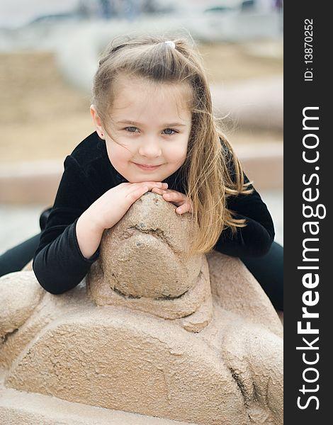 Portrait of a Girl & Turtle Statue