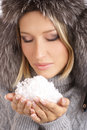 Free Portrait Of A Winter Woman Holding Snow Stock Images - 13884534