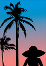 Free Palm And Woman Silhouettes At Sunset Stock Images - 13886964