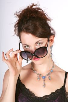 Free Girl In The Big Sun Glasses Royalty Free Stock Photo - 13880125