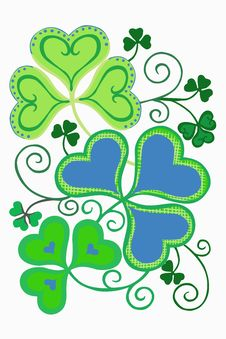 Clover Leaves In Color Stock Images