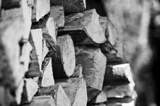 Pile Of Chopped Logs (B/W) Royalty Free Stock Image