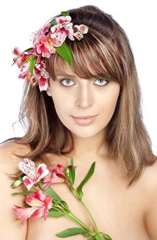 Free Girl With Wreath Of Flowers Stock Photos - 13881233