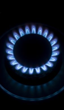 Big Blue Flame Stove Royalty Free Stock Photo