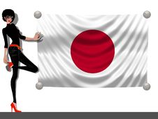 Free Girl With A Flag Of Japan Stock Photo - 13882320