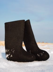 Felt Boots Royalty Free Stock Image