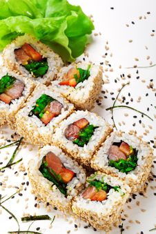 Smoked Salmon Roll Stock Photos
