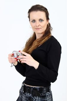 The Attractive Woman With Digital Camera Stock Photography