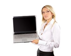 Young And Attractive Businesswoman With A Laptop Royalty Free Stock Images