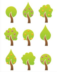 Free Set Of 9 Tree Icons Stock Photo - 13884940