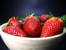 Bowl Of Strawberries Stock Photos