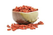 Goji Berries In A Dish Royalty Free Stock Images