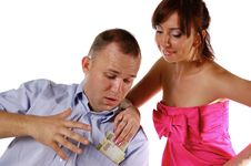 Free Wife Takes Away Money From Husband Royalty Free Stock Photography - 13886007
