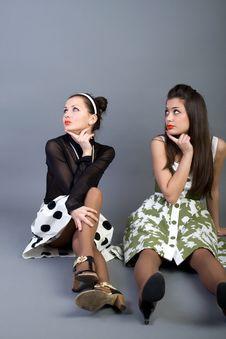 Free Two  Happy Retro-styled Girls Royalty Free Stock Photo - 13886095