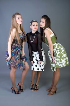 Free Three Happy Retro-styled Girls Stock Photo - 13886110