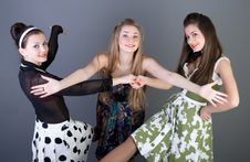 Free Three Happy Retro-styled Girls Royalty Free Stock Photography - 13886117