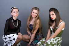 Free Three Happy Retro-styled Girls Royalty Free Stock Images - 13886129