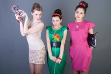 Three Happy Retro-styled Girls Stock Images