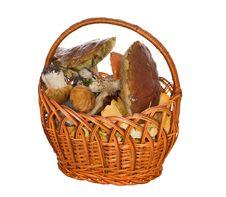 Free Isolated Basket Of Mushrooms Royalty Free Stock Image - 13886896