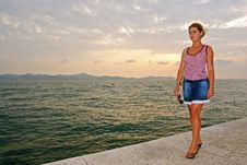 Free Beautiful Model Posing At The Sea Stock Photography - 13887032