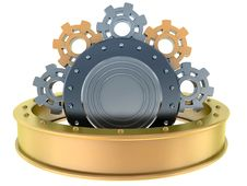 Free Gold And Steel Gears Royalty Free Stock Photo - 13887295