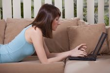 Free Female With Laptop At Home Stock Photography - 13887402
