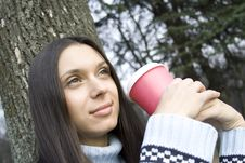 Free Female In A Park Drinking Coffee Stock Image - 13887851