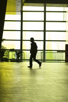People Silhouettes At Office Building Stock Photo
