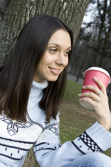 Free Female In A Park Drinking Coffee Stock Images - 13888294