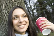 Free Female In A Park Drinking Coffee Stock Photo - 13888340