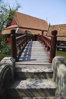 Red Wooden Bridge Stock Photos