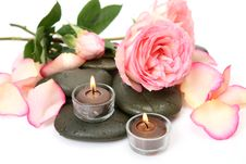 Rose And Candle Royalty Free Stock Images