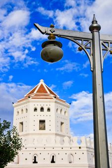 Old Fortress And Old Lamp In Thailand Stock Photo