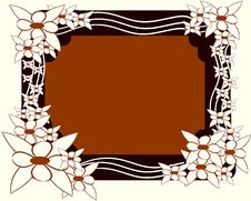 Frame Decorated With Stylized White Flowers Stock Photography