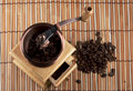 Free Coffee Grinder With Coffee Grains Royalty Free Stock Image - 13890156