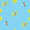 Free Seamless Background With Bees And Buttercups Royalty Free Stock Image - 13896156