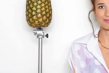 Free Young Pretty Girl And A Pineapple Stock Images - 13890574