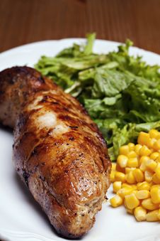 Grilled Meat With Vegetable Royalty Free Stock Photo