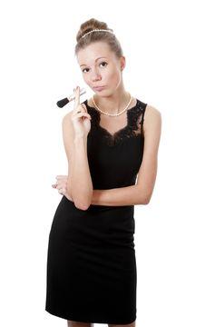 Free Girl With Powder Brush Royalty Free Stock Image - 13892286