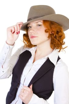Free Redhead Girl In Hat Royalty Free Stock Photos - 13892528