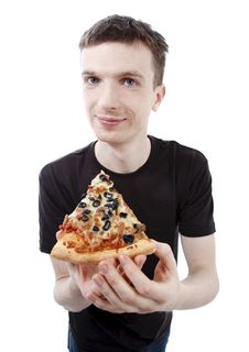 Free Young Man With Pizza Stock Photos - 13892643