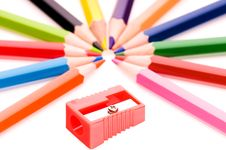 Free Multicolor Pencils And Red Sharpener Stock Photography - 13892922
