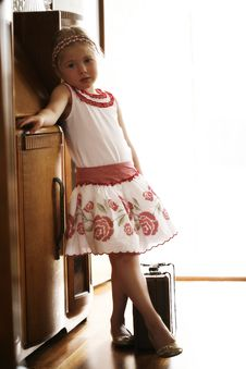 Little Girl Ready To Go On Vacation Stock Images