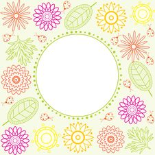 Free Colorful Floral Frame. Royalty Free Stock Photo - 13894555