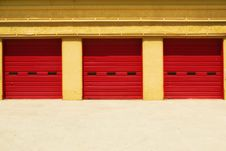 Free Three Red Doors In A Yellow Building Royalty Free Stock Photos - 13895038